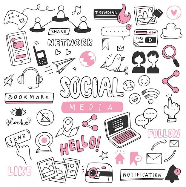 Jeu de doodle de médias sociaux dessinés à la main Vecteur Premium
