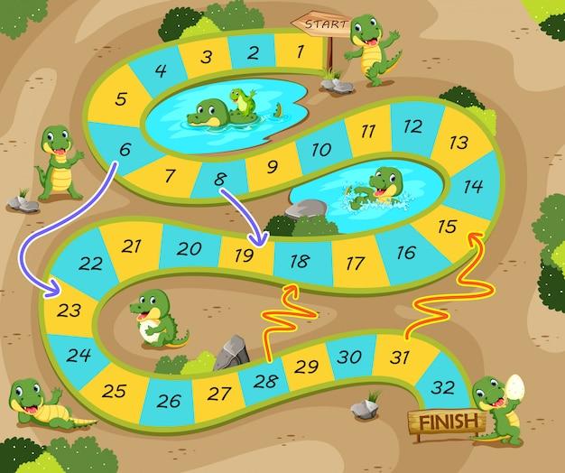 Le jeu du serpent et des échelles avec le thème du crocodile Vecteur Premium