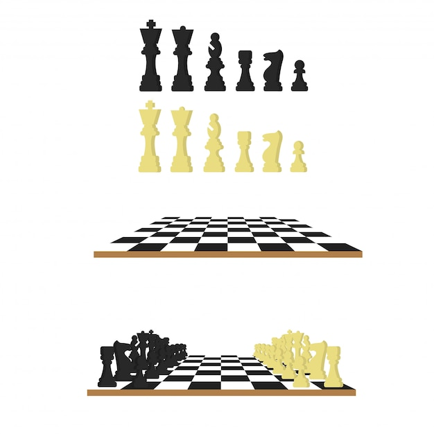 Jeu d'échecs noir et blanc Vecteur Premium