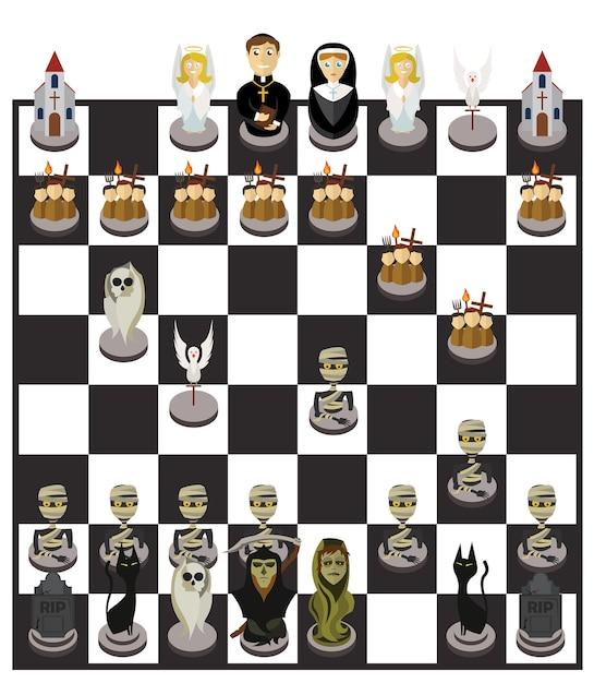 Jeu d'échecs et de personnages d'halloween Vecteur Premium
