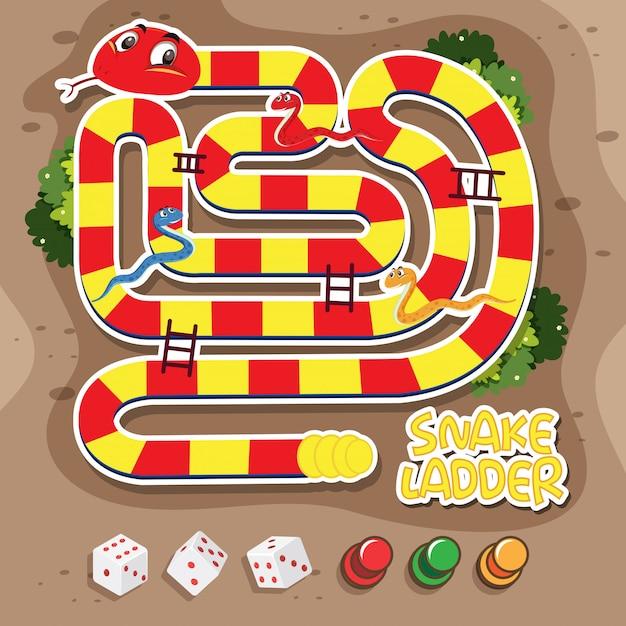 Un jeu d'échelle de serpent Vecteur Premium