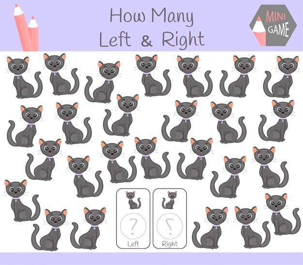 Jeu éducatif de compter à gauche et à droite avec un chat Vecteur Premium