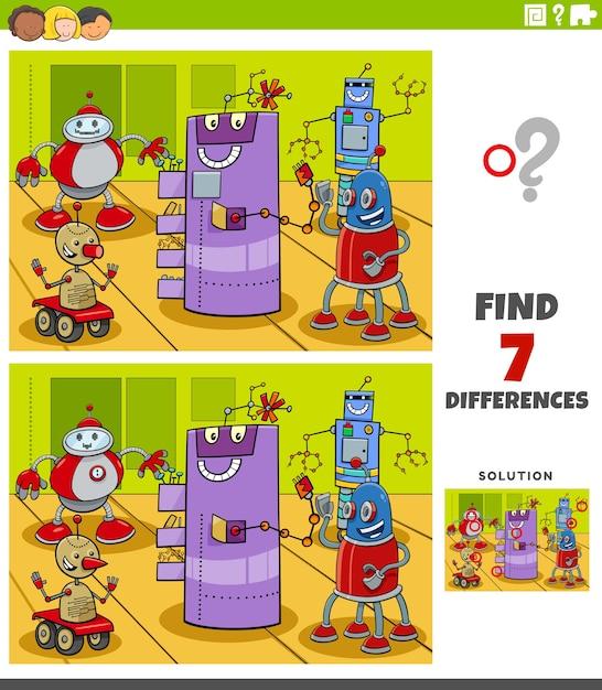 Jeu éducatif De Différences Avec Des Personnages De Robots Vecteur Premium