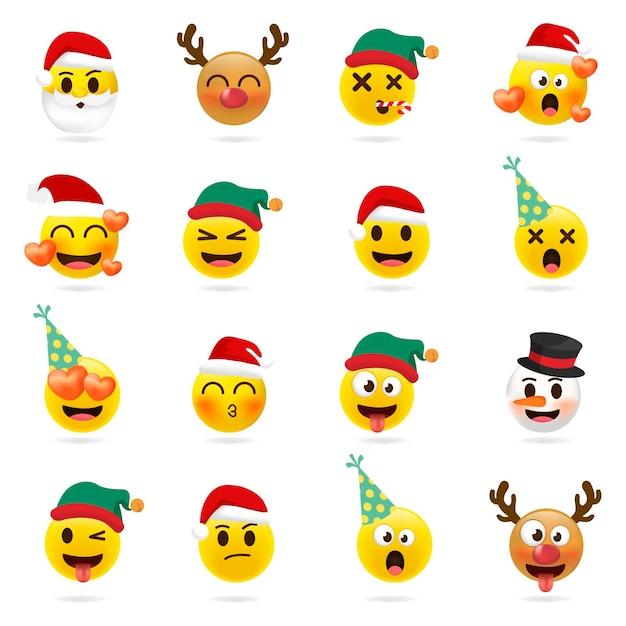 Jeu D Emoji De Noel Ensemble De Vacances D Icones De Visage De Noel Avec Differentes Emotions Vecteur Premium