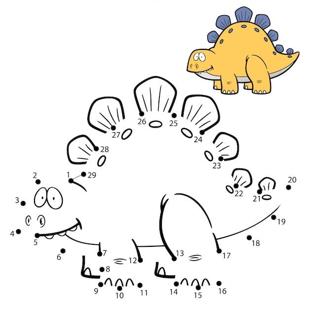 Jeu D'enfants Point à Point Dinosaure Vecteur Premium