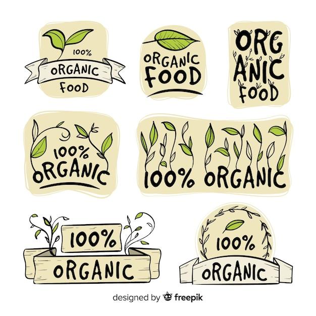 Jeu d'étiquettes d'aliments biologiques dessinés à la main Vecteur gratuit