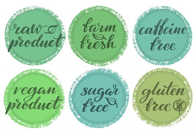 Jeu D'étiquettes D'aliments Sains. étiquettes Ou Autocollants De Produits. Vecteur Premium