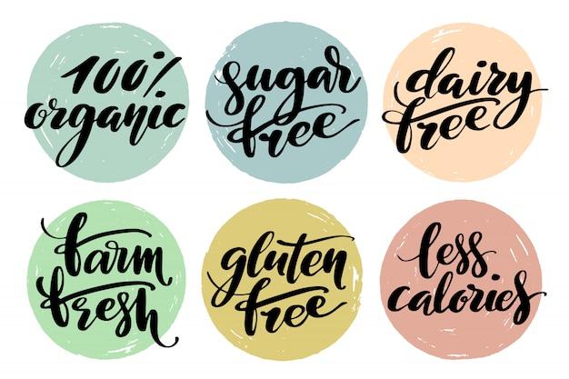 Jeu d'étiquettes d'aliments sains Vecteur Premium