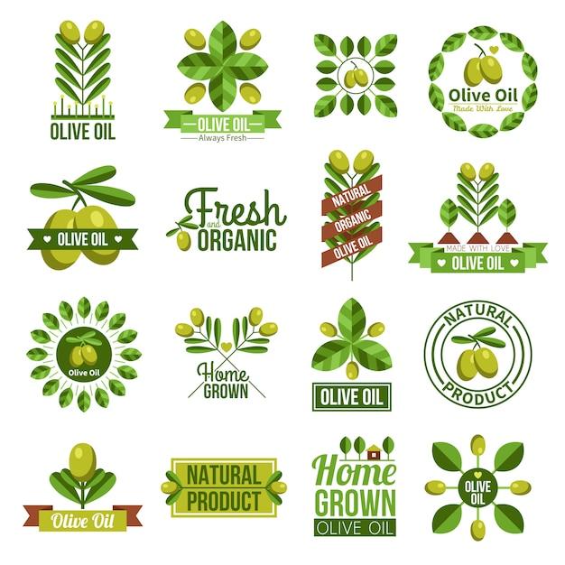 Jeu d'étiquettes bio à l'huile d'olive naturelle Vecteur gratuit
