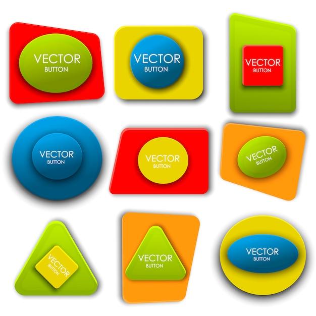 Jeu d'étiquettes de boutons vectoriel abstrait Vecteur Premium