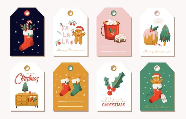 Jeu D'étiquettes De Cadeaux De Noël. Vecteur Premium