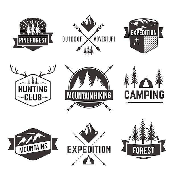 Jeu d'étiquettes d'emblèmes de tourisme Vecteur gratuit