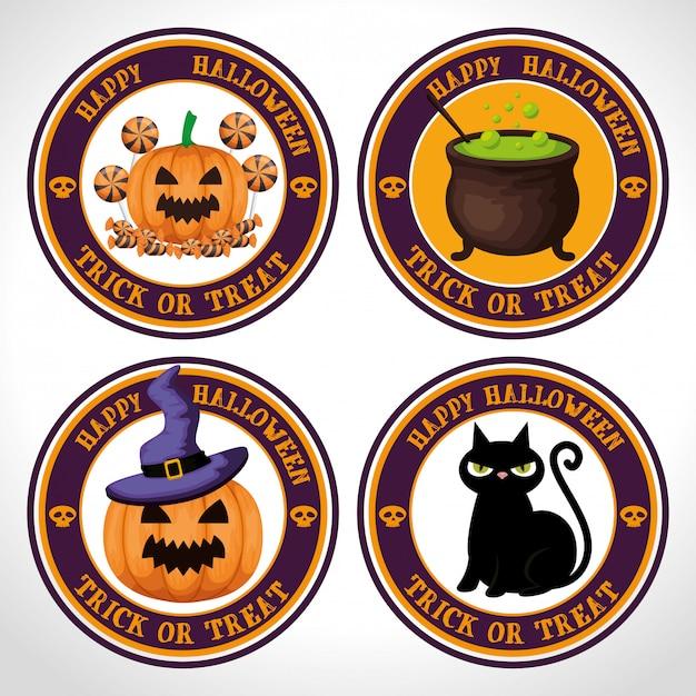 Jeu d'étiquettes joyeux halloween Vecteur gratuit