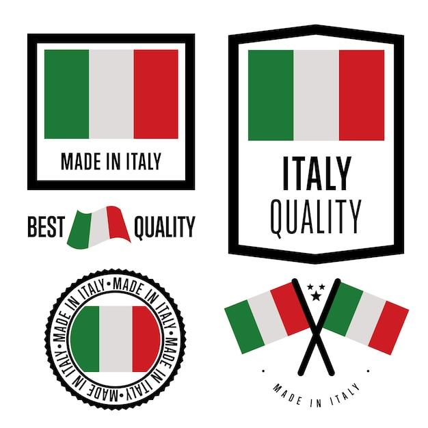 Jeu d'étiquettes made in italy Vecteur Premium