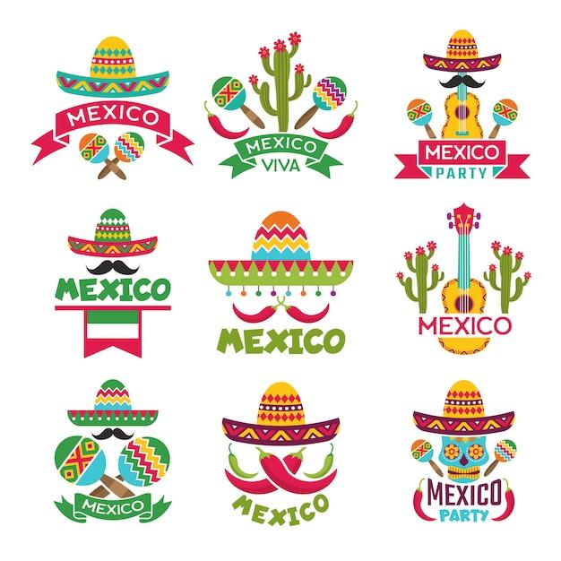 Jeu d'étiquettes mexicaines. Vecteur Premium