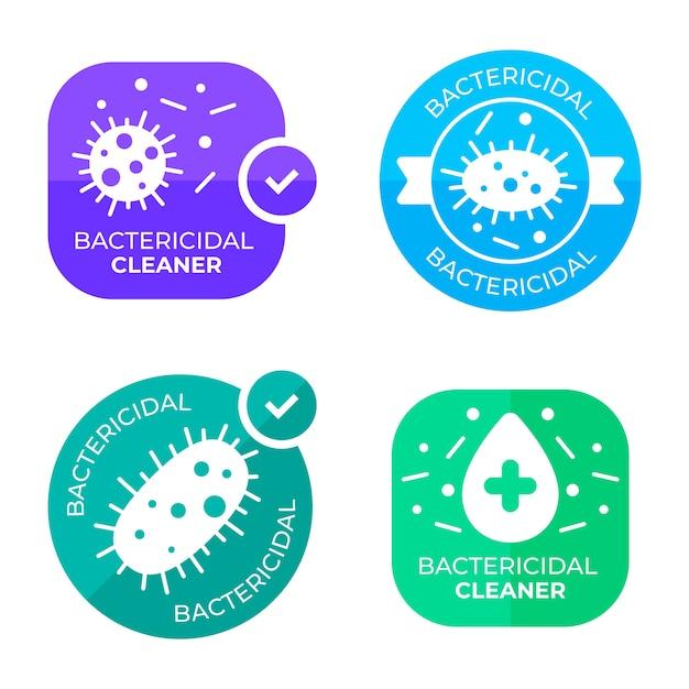 Jeu D'étiquettes Nettoyant Bactéricide Vecteur gratuit