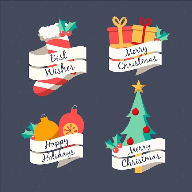Jeu D'étiquettes De Noël Dessinés à La Main Vecteur gratuit
