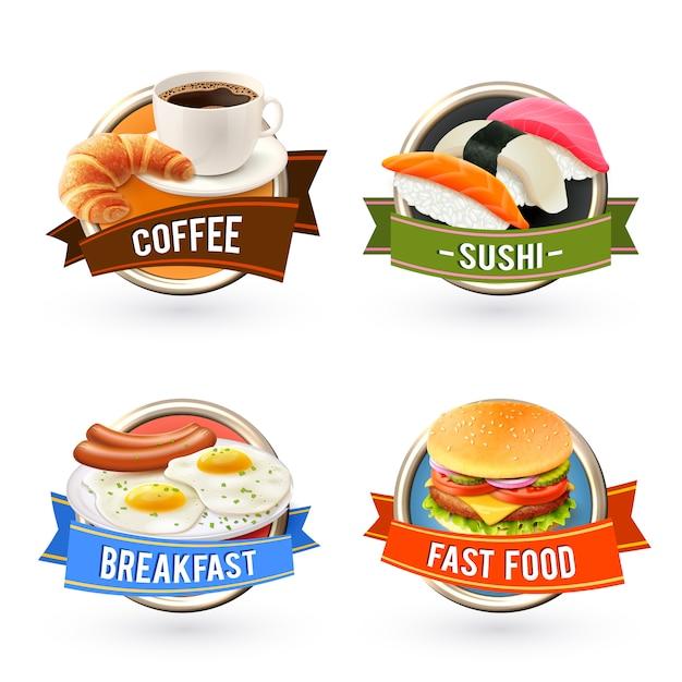 Jeu d'étiquettes petit-déjeuner Vecteur gratuit
