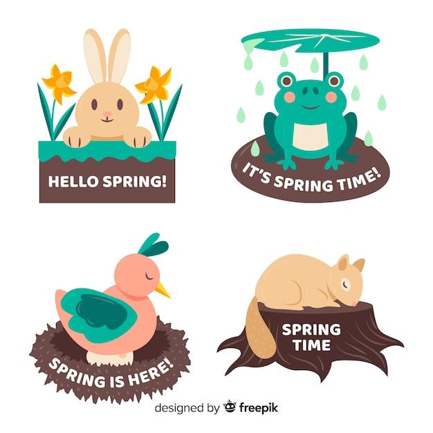 Jeu d'étiquettes de printemps animal Vecteur gratuit