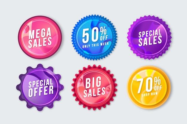 Jeu d'étiquettes de promotion des ventes Vecteur gratuit