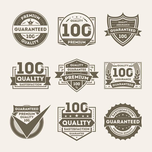 Jeu D'étiquettes De Qualité Supérieure Garantie Vecteur Premium