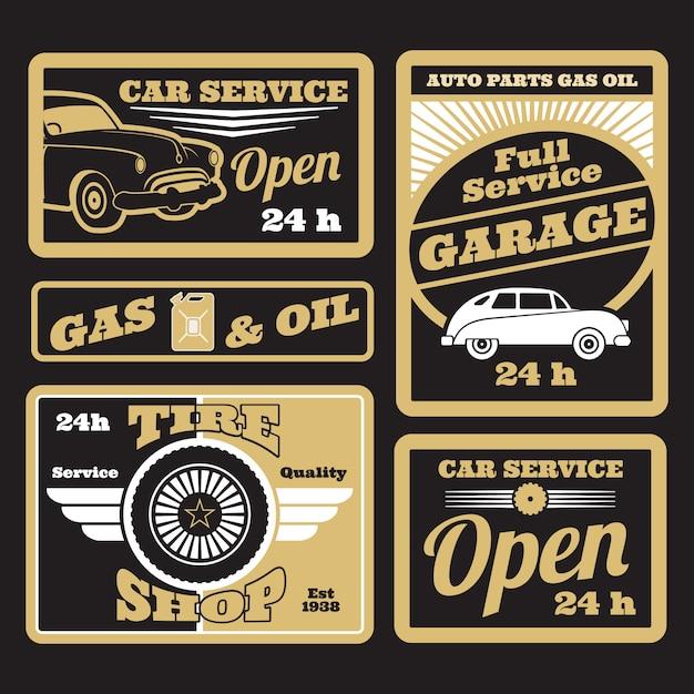 Jeu d'étiquettes de service de voiture rétro noir doré Vecteur Premium