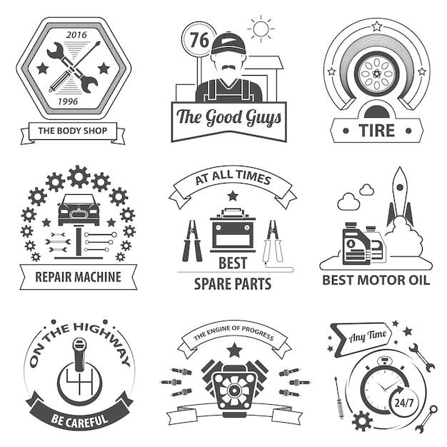 Jeu d'étiquettes de service de voiture Vecteur gratuit