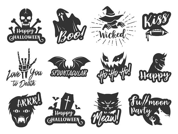 Jeu d'étiquettes typographiques halloween Vecteur Premium