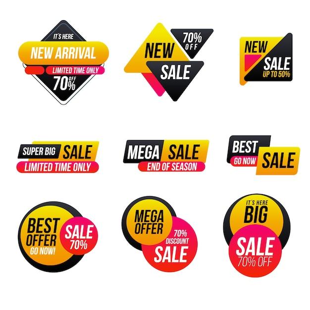 Jeu d'étiquettes de vente minimaliste Vecteur gratuit