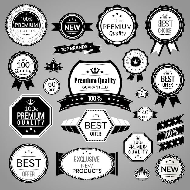 Jeu d'étiquettes de vente noir Vecteur Premium