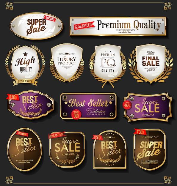 Jeu d'étiquettes de vente d'or Vecteur Premium