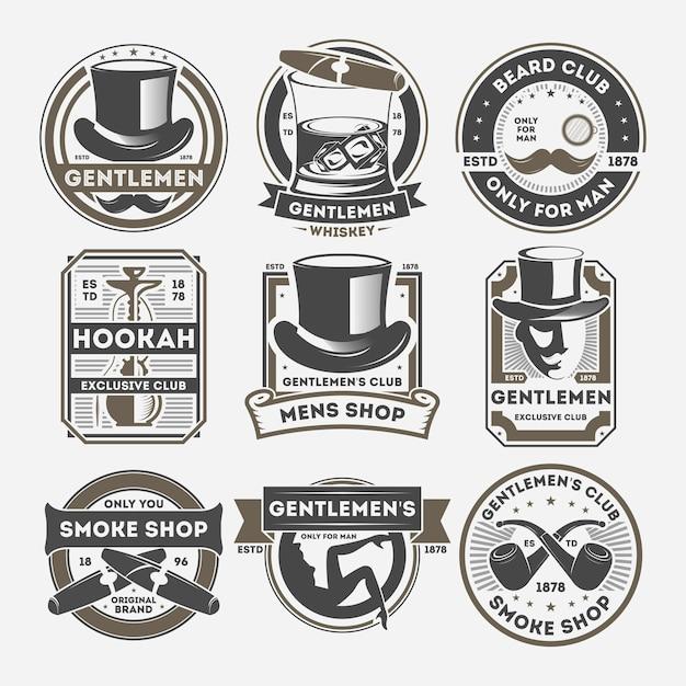 Jeu D'étiquettes Vintage Isolé Gentleman Vecteur Premium