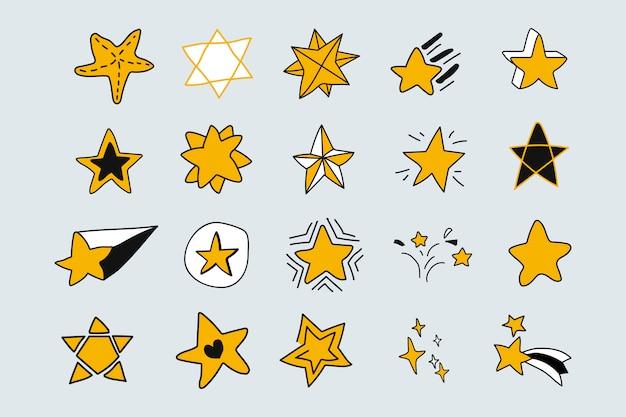 Jeu d'étoiles doodle Vecteur gratuit