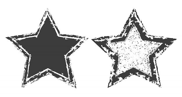 Jeu d'étoiles grunge Vecteur Premium