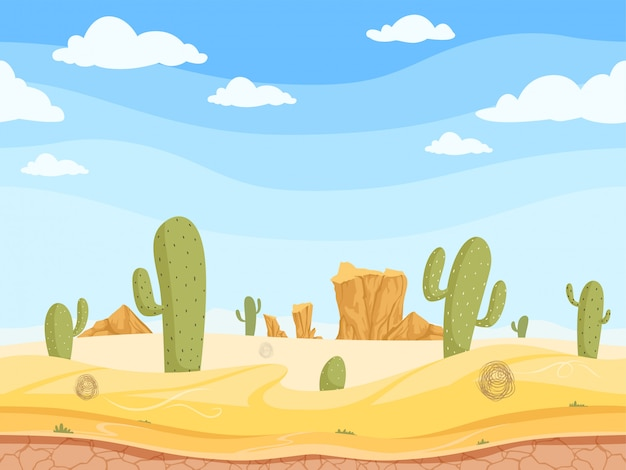 Jeu De Far West Paysage De Canyon Occidental En Plein Air Avec Des Pierres Cactus De Sable De Roche Vector Illustration De Dessin Animé Vecteur Premium