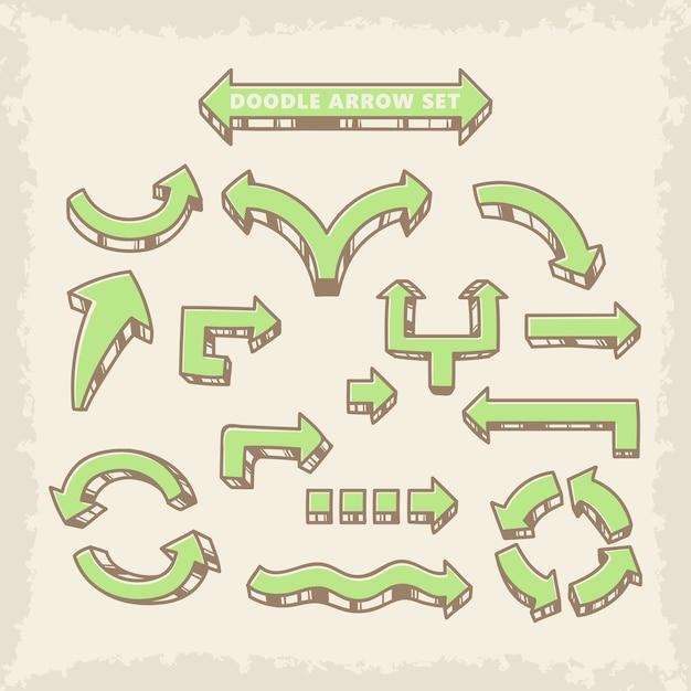 Jeu de flèches vectorielles doodle dessinés à la main Vecteur Premium