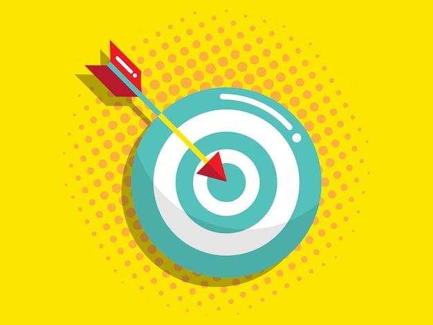 Jeu de fléchettes avec flèche, vision d'entreprise et concept d'objectif Vecteur Premium
