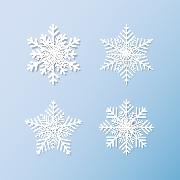 Jeu de flocons de neige fond pour l'hiver et noël Vecteur Premium