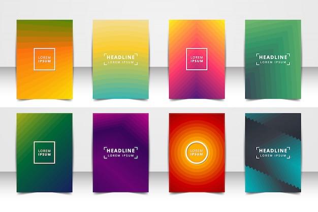 Jeu de fond de mise en page de vecteur abstraite. pour la conception de modèle d'art, liste, page de garde, style de thème de brochure maquette, bannière, idée, couverture, brochure, impression, flyer, livre, blanc, carte, annonce, signe, feuille, a4. Vecteur Premium