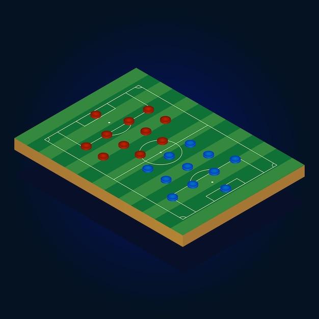 Jeu De Football Soccer Isométrique De Football Vecteur Premium