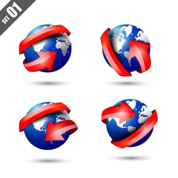 Jeu de globe 3d et carte du monde Vecteur Premium