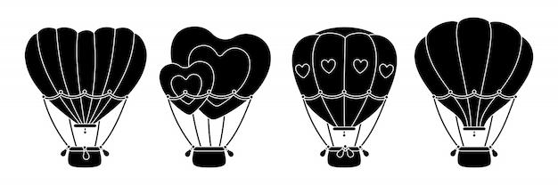 Jeu De Glyphes Noirs Pour Montgolfières. Monochrome Plat En Forme De Coeur Ou De Cercle. Collection De Ballons à Air De Dessin Animé Saint Valentin. Festivals Ou Mariage Transport Aérien. Illustration Isolée Vecteur Premium