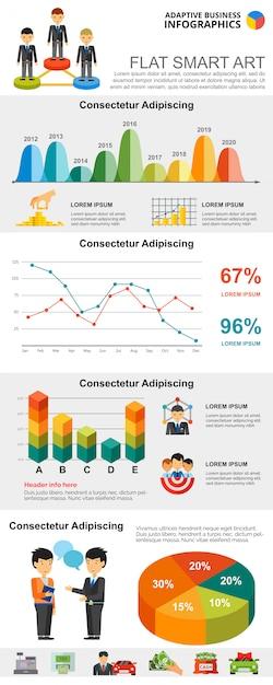 Jeu de graphiques coloré finance concept ou travail d'équipe infographie Vecteur gratuit