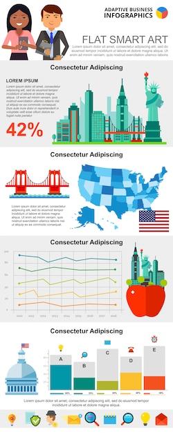 Jeu de graphiques infographie de recherche coloré Vecteur gratuit