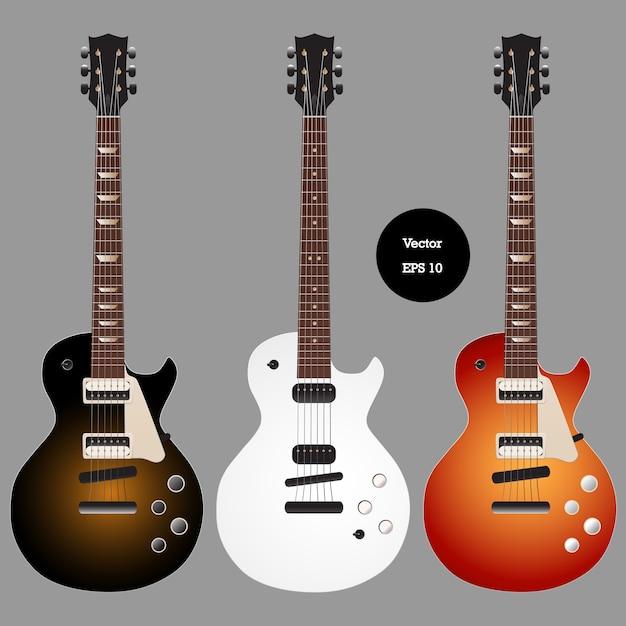 Jeu de guitare classique électrique Vecteur Premium
