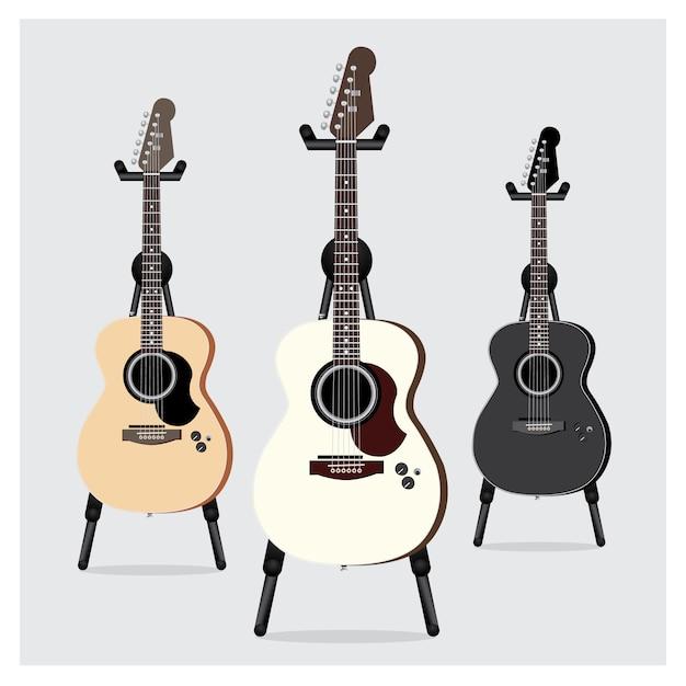 Jeu de guitare électrique acoustique avec support Vecteur Premium
