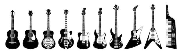 Jeu De Guitare. Guitares Acoustiques Et électriques Sur Fond Blanc. Illustration Monochrome. Instruments De Musique. Collection Vecteur Premium