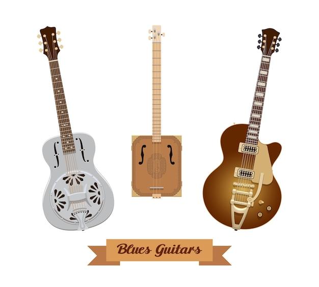 Jeu De Guitare. Guitares Blues Réalistes Sur Fond Blanc. Instruments De Musique. Illustration. Collection Vecteur Premium