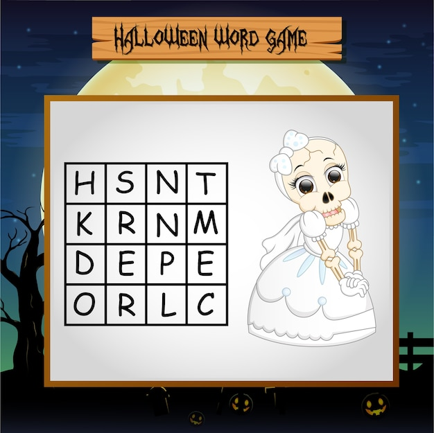 Jeu halloween trouver le mot du squelette Vecteur Premium