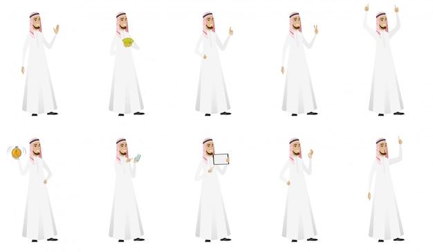 Jeu d'homme d'affaires musulman Vecteur Premium